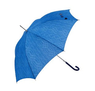 Bisetti Automatic Walking Umbrella - Blue Knit Print