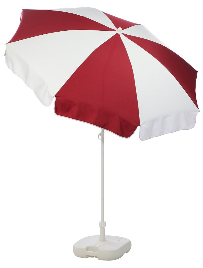 Patio / Garden / Beach Parasol Umbrella - Burgundy & White