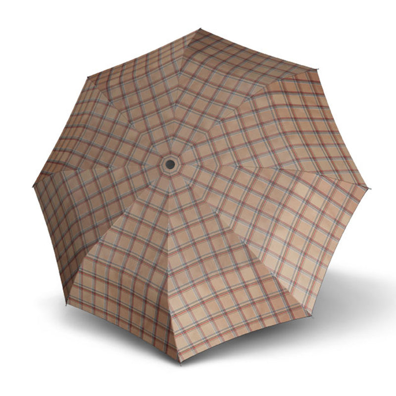 Carbon Steel Karo Check Folding Umbrella - Tan