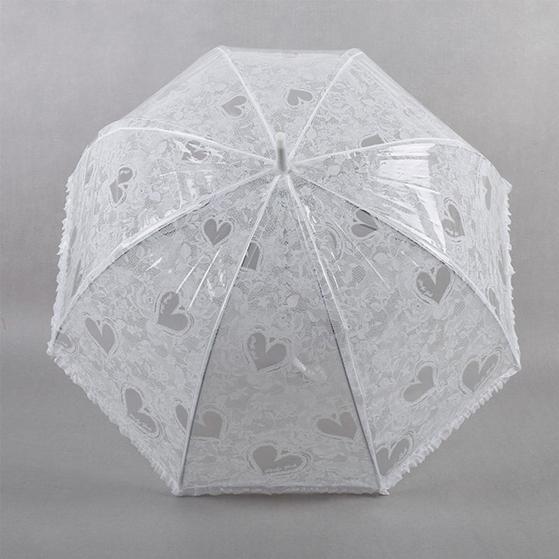 Clear Wedding Automatic Dome Umbrella - White Lace Print and Frill Trim