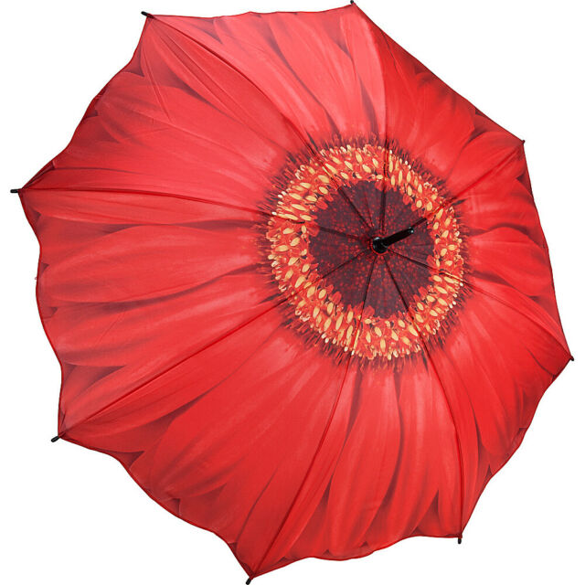 Galleria Floral Automatic Folding Umbrella - Red Daisy