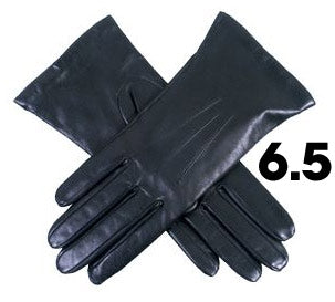 Ladies Black Dents Cashmere Lined Leather Gloves- Size 6.5