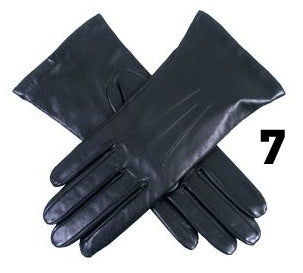 Ladies Black Dents Cashmere Lined Leather Gloves- Size 7