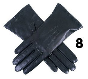 Ladies Black Dents Cashmere Lined Leather Gloves- Size 8