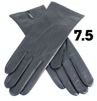 Ladies Black Dents Silk Lined Leather Gloves - Size 7.5