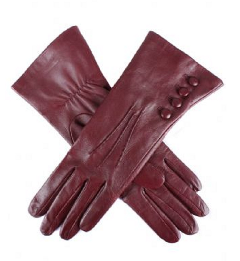 Ladies Bordeaux 'Rose' Dents Silk Lined Button Detail Leather Gloves - Size 8
