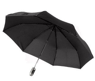 One for All Auto O&C Elk Leather Handle Folding Umbrella in Black