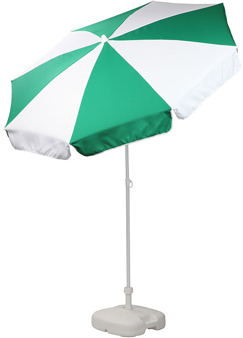 Patio / Garden / Beach Parasol Umbrella - Emerald Green & White