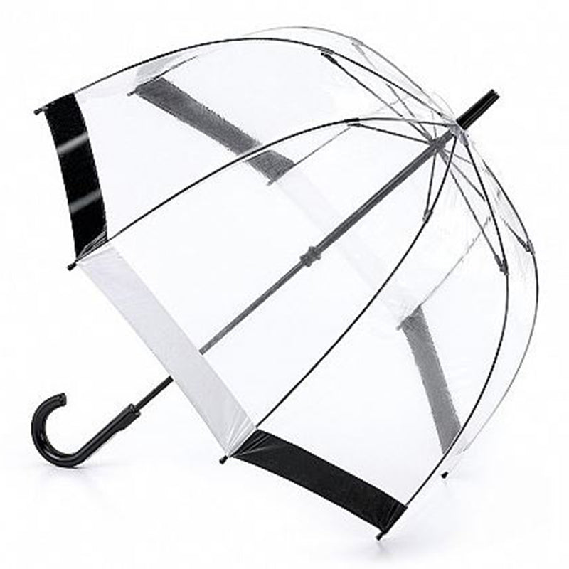 "Fulton Birdcage Clear Dome Umbrella ""As used by the Queen"" - Black / White"