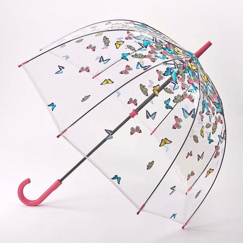 Fulton Birdcage Clear Dome Umbrella - Raining Butterfly
