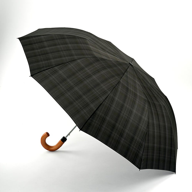 Fulton Dalston Hook Handle Automatic Folding Umbrella Charcoal Check