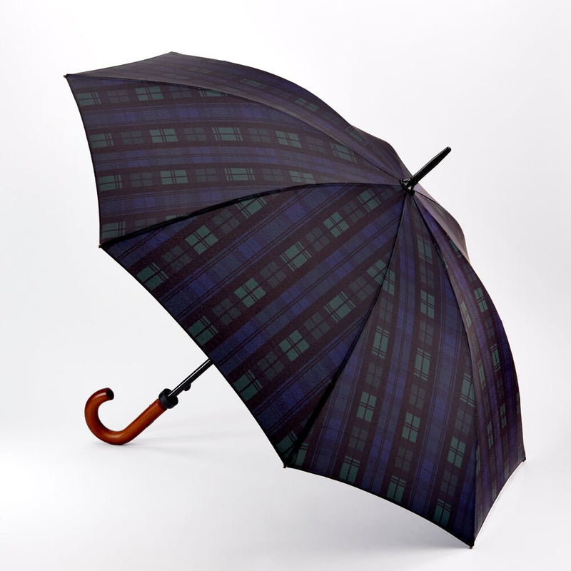 Fulton Huntsman Wood Handle Walking Umbrella - Blackwatch Tartan
