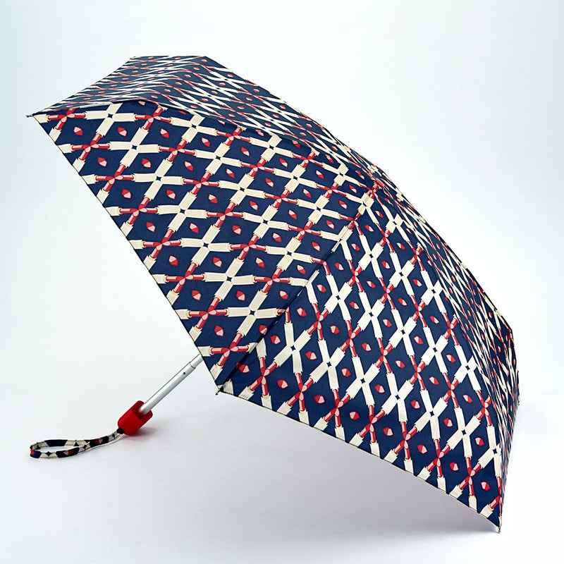 Lulu Guinness Tiny Folding Umbrella - Lipstick Lattice