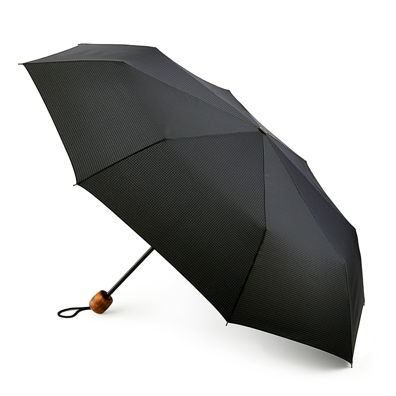 Fulton Hackney Folding Umbrella with Wood Handle - Gingham