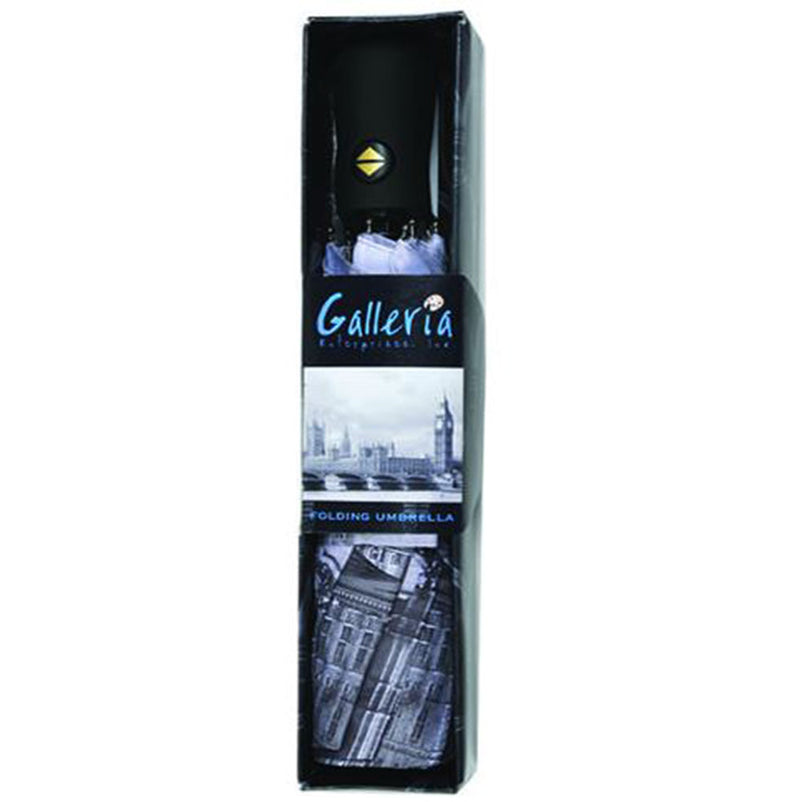 Galleria City Collection Auto Folding Umbrella - London Black & White