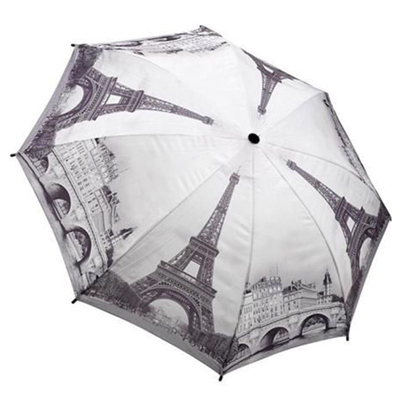 Galleria City Collection Auto Folding Umbrella - Paris Black & White