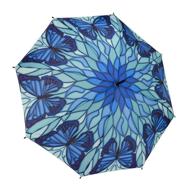 Galleria Automatic Walking Umbrella - Stained Glass Butterfly Blue