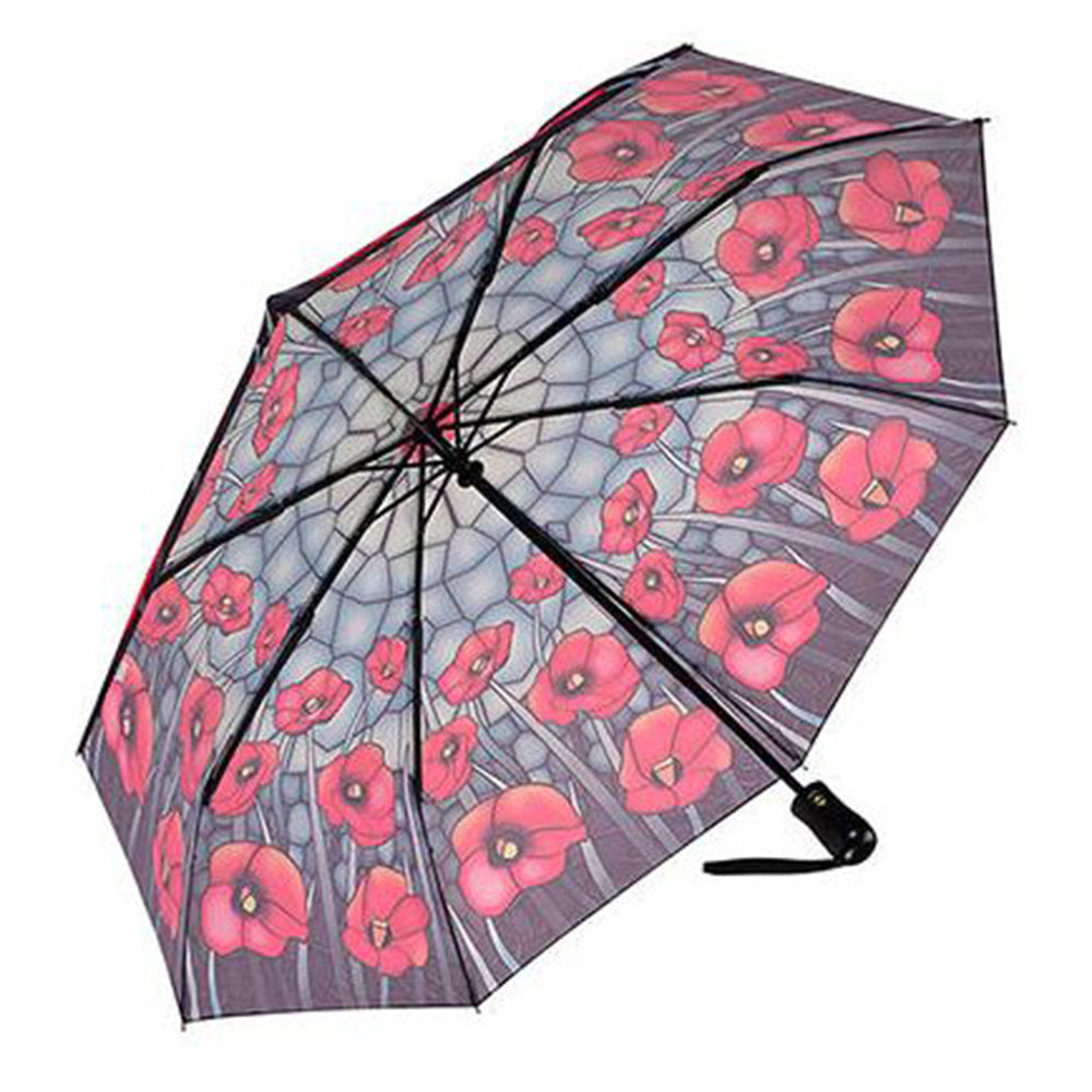 Galleria Automatic Folding Umbrella - Stained Glass Poppies