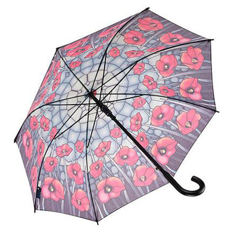Galleria Automatic Walking Umbrella - Stained Glass Poppies