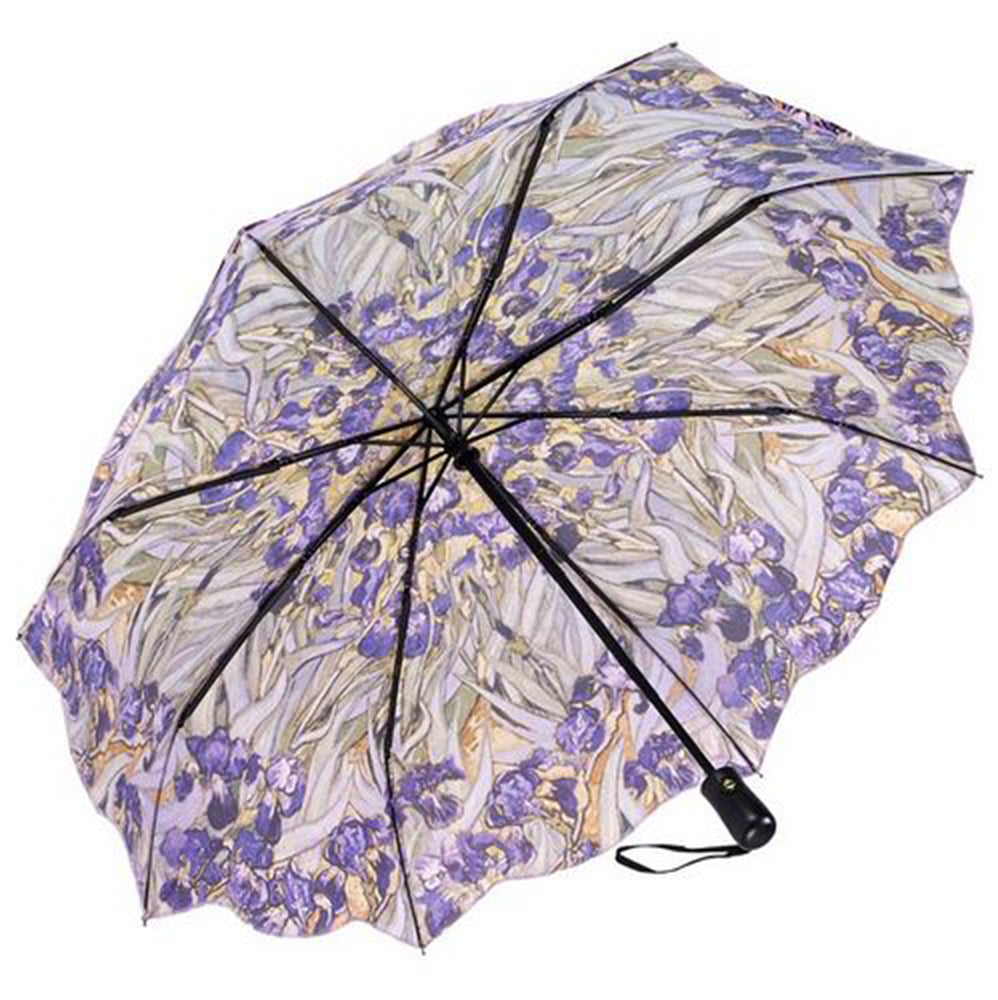 Galleria Art Print Auto Folding Umbrella - Van Gogh 'Irises'
