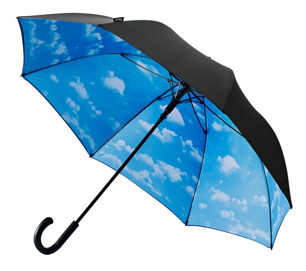 Double Layer Hook Handle Golf Umbrella - Black / Clouds