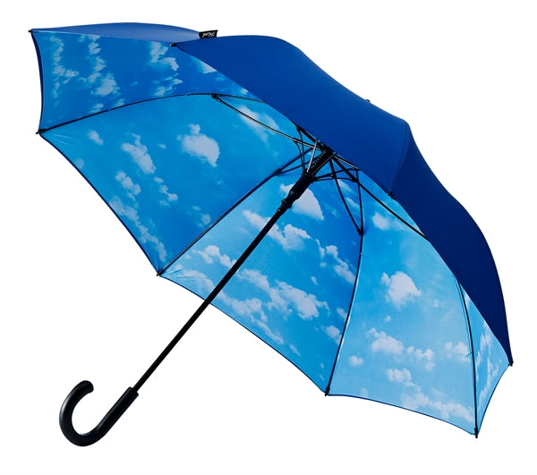 Umbrellaworld Double Layer Hook Handle Golf Umbrella - Navy / Clouds