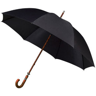 The Sigma Black Canopy Dark Wood Crook Handle Golf Umbrella