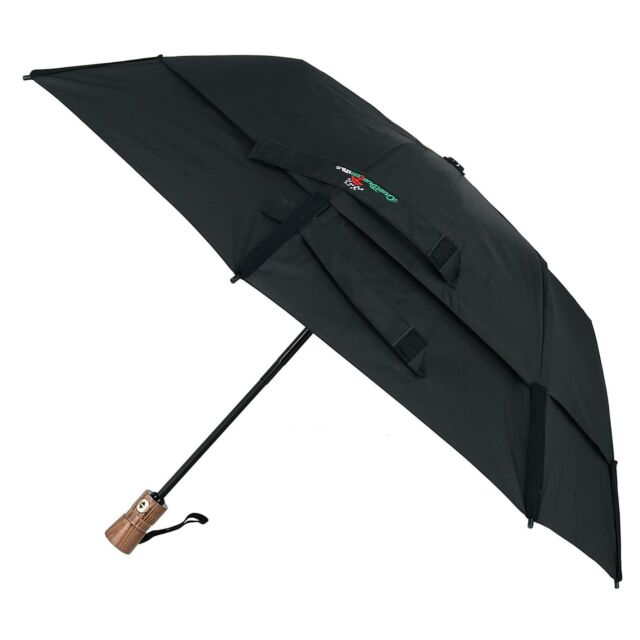Gustbuster Metro AOC Premium Wood Handle Vented Folding Umbrella - Black