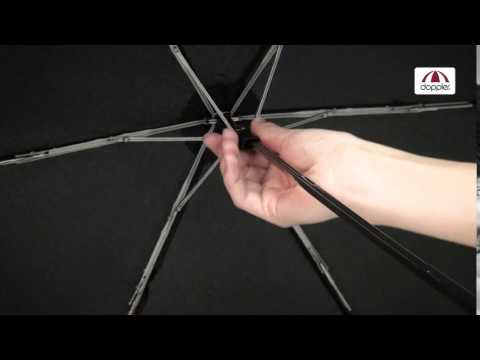 Carbon Steel Mini Slim Folding 'Glow' Umbrella -  Black