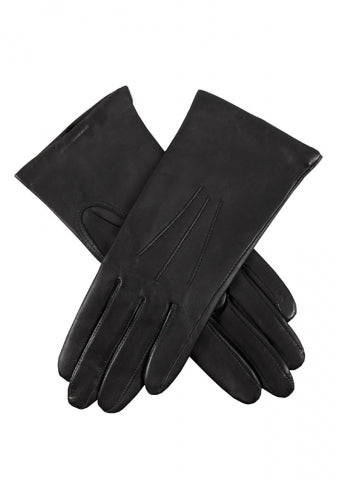 Ladies Black Dents Cashmere Lined Leather Gloves 'Isabelle'- Size 8