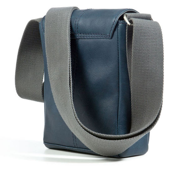 Bugatti 'John D' Upright Messenger Crossbody Bag in Petrol Cowhide Leather