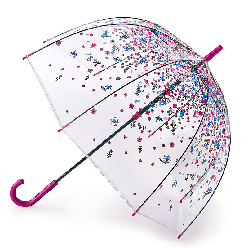 Fulton Birdcage Clear Dome Umbrella - Tumble Down Petals