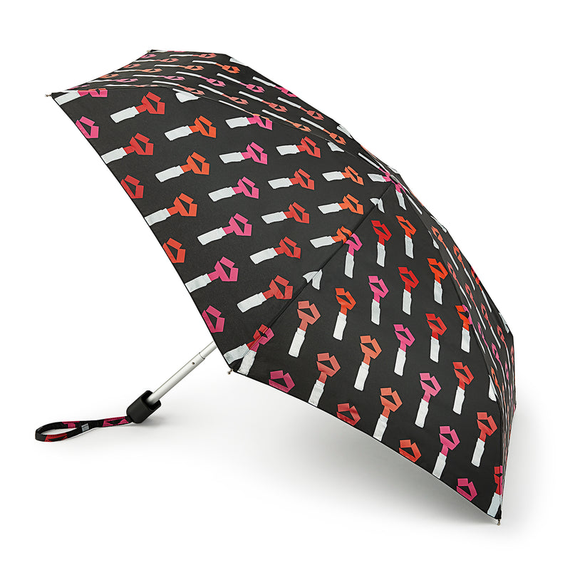 Lulu Guinness Tape Lipstick Folding Umbrella