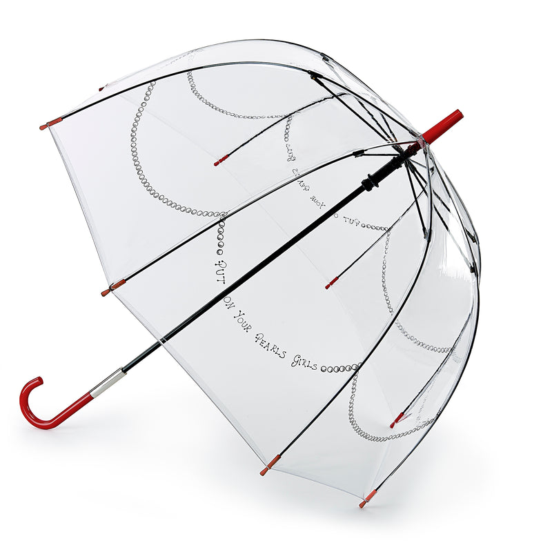 Lulu Guinness Designer Clear Birdcage Umbrella -  Put Your Pearls on Girls
