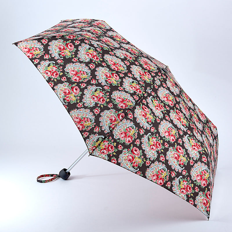 Cath Kidston Minilite Folding Umbrella - Rose Paisley Charcoal