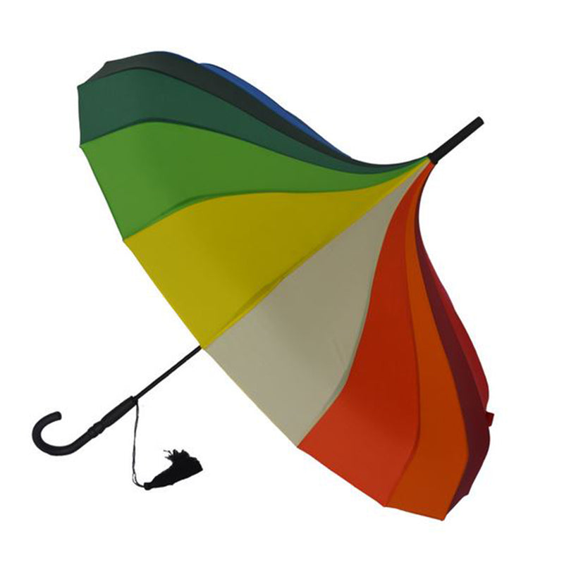 Ladies Walking Length Pagoda Umbrella with Tassel Detail - Rainbow Colours