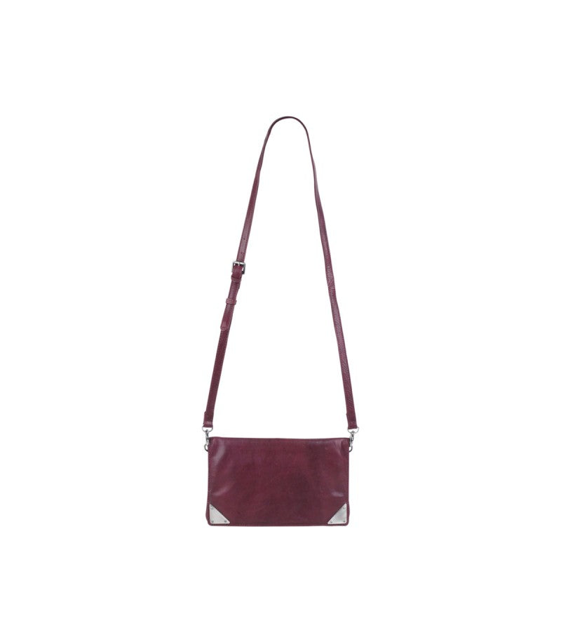 Markberg 'Lala' Wine Red Cross Body Leather Clutch