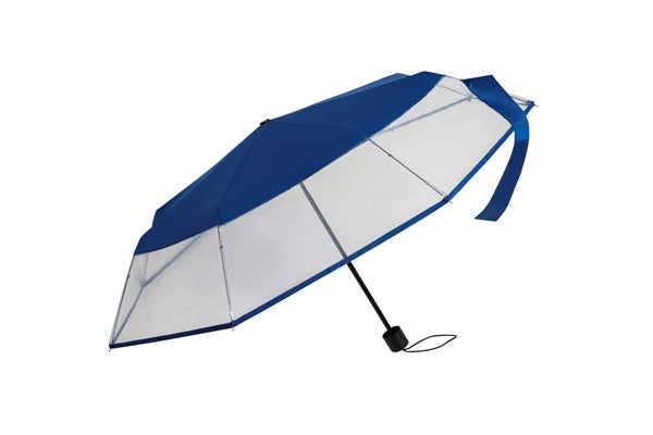 Clear Folding POE Umbrella - Navy Trim