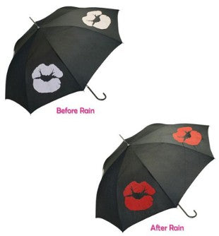 Ladies Colour Change 'Red Lips Kiss' Walking Umbrella