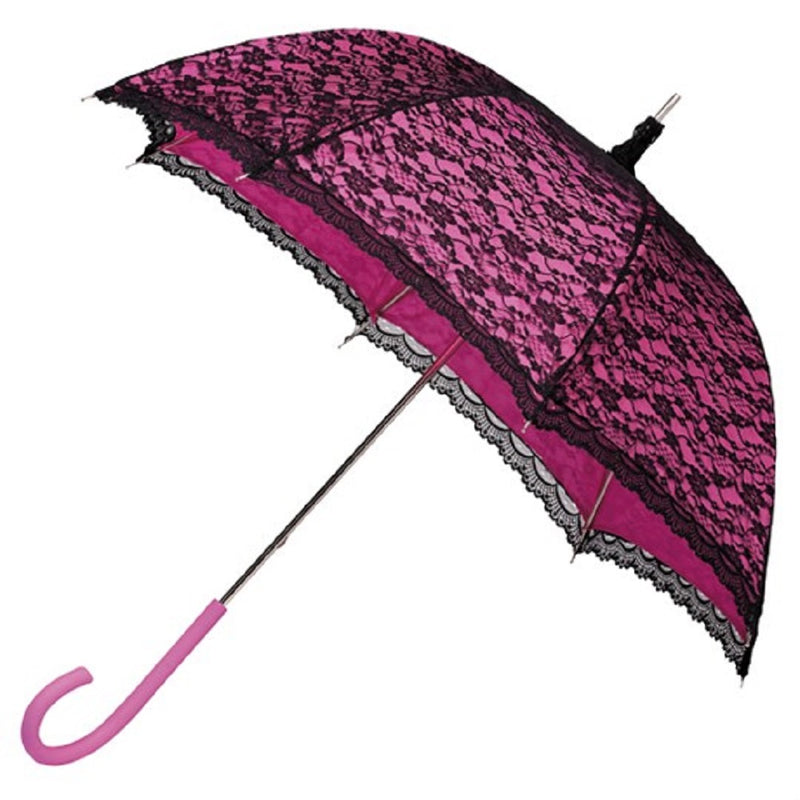 Ladies Lace Walking Umbrella - Pink