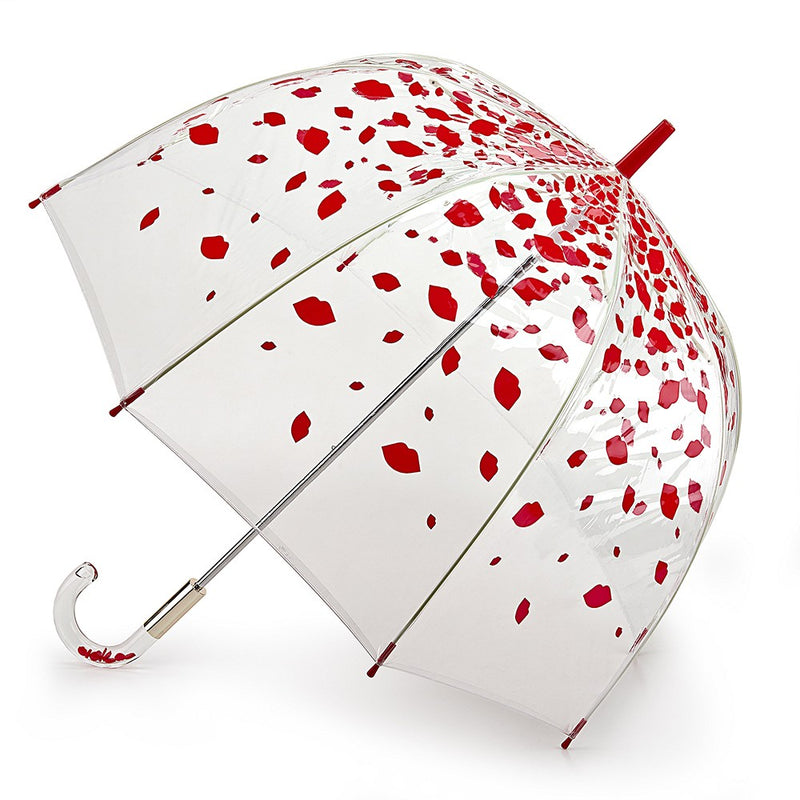 Lulu Guinness Designer Clear Birdcage Umbrella - Raining Red Lips