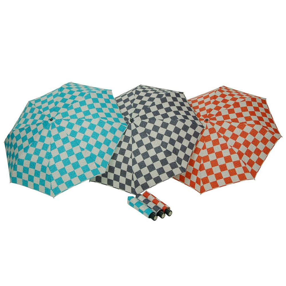 Doppler Mini Fiber Chess Paisley Folding Umbrella - Orange