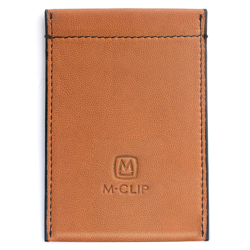 M Clip RFID Security Tan Leather Card Case