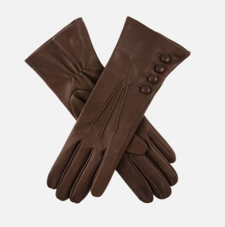 Ladies Mocha 'Rose' Dents Silk Lined Button Detail Leather Gloves - Size 6.5