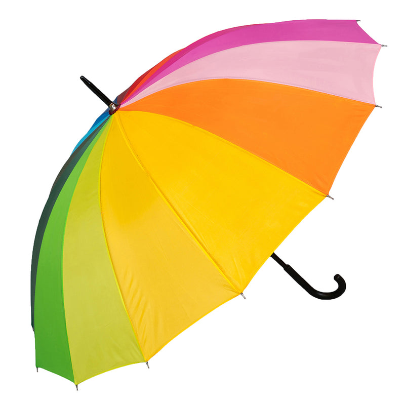 Rainbow Walking Umbrella with Black Hook Handle