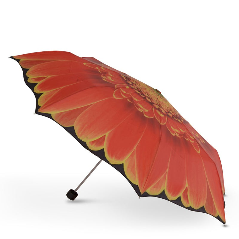 Cascada Collection Orange Gerbera Floral Folding Umbrella