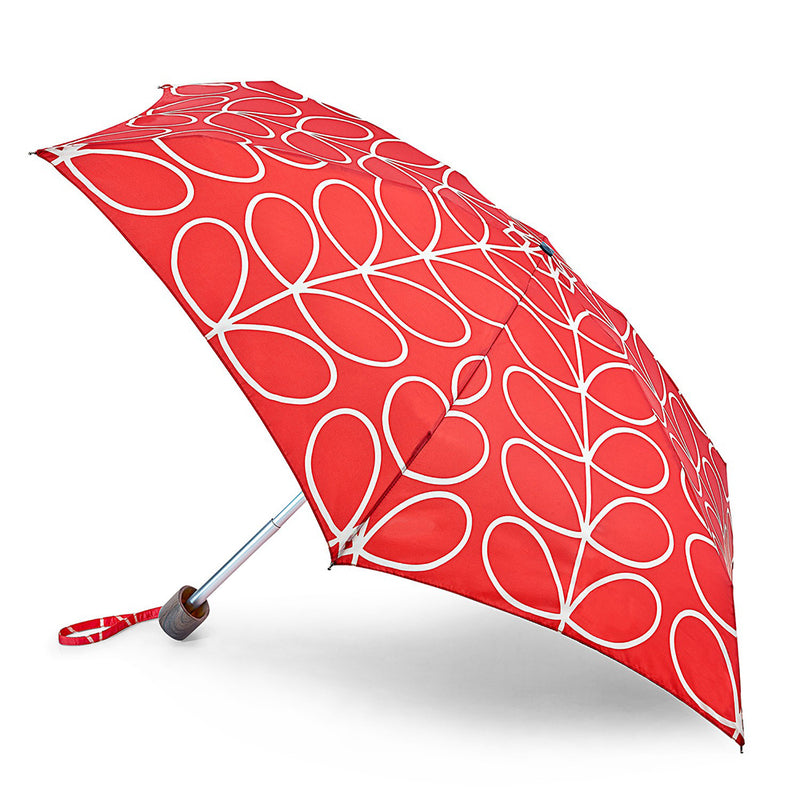 Orla Kiely Tiny Folding Umbrella - Red Linear Leaf