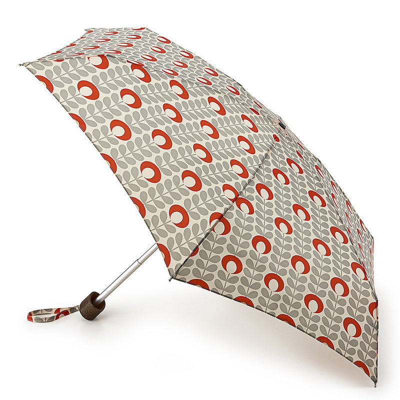 Orla Kiely Tiny Folding Umbrella - Flower Oval Stem Tomato and Granite