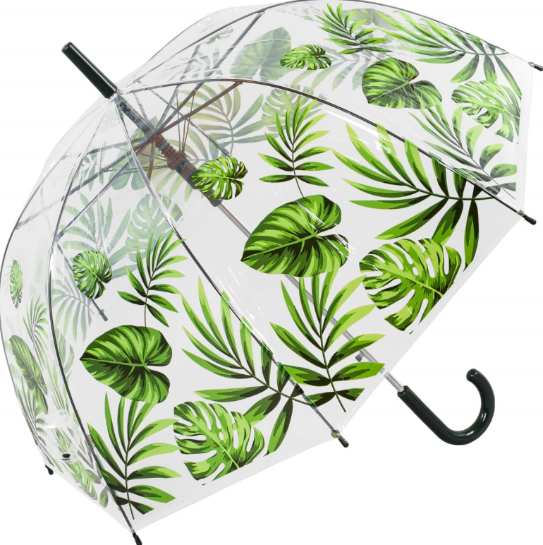 Susino Printed Auto Clear Dome Umbrella - Palm Leaf Border