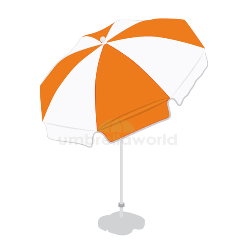 Patio / Garden / Beach Parasol Umbrella - Orange & White